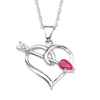 Sterling Silver Ruby and Diamond Accent Heart Pendant