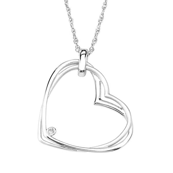 Sterling Silver Diamond Accent Tipped Heart Pendant