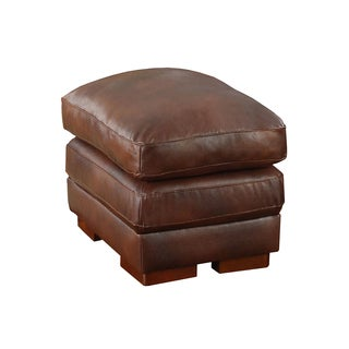 Bombay Woodbridge Leather Ottoman