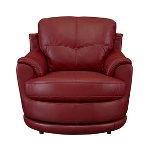 Bombay Dorena Red Leather Swivel Chair