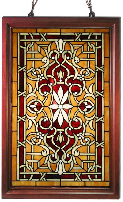 style wood frame stained glass window panel