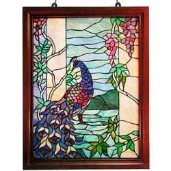 Tiffany-style Peacock Wood Framed Window Panel