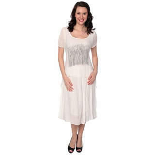 Nancy Yang Linen-Blend Wooded Patch Blouson Dress