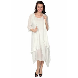 Nancy Yang Women's Linen-Blend Layered Sidetail Dress