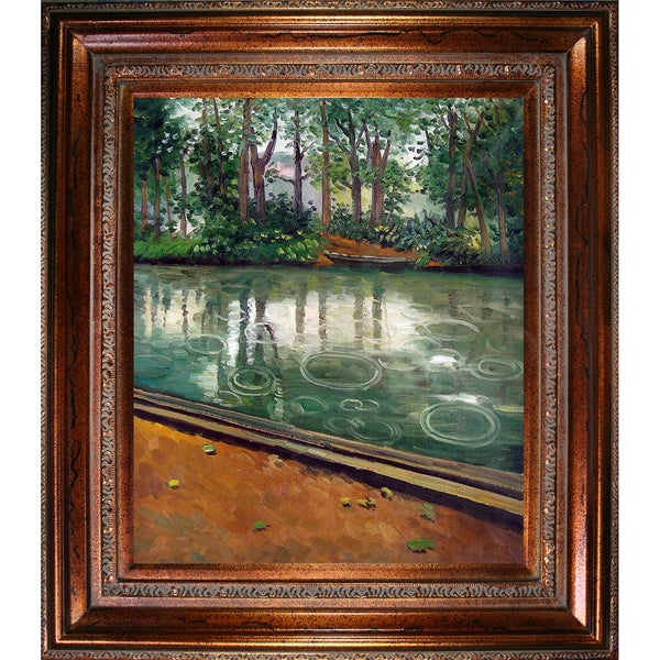 Gustave Caillebotte 'The Yerres, Effect of Rain' Hand Painted Framed Canvas Art