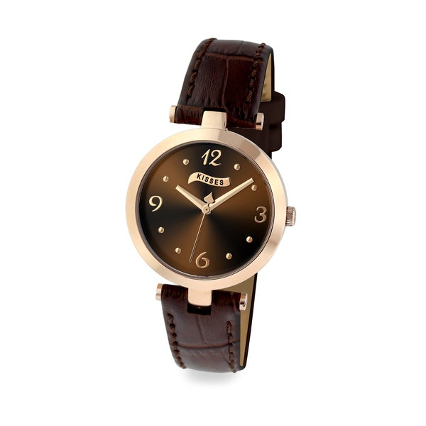 Hershey's Kisses Ladies KS012RGBN Brown Leather Strap Watch