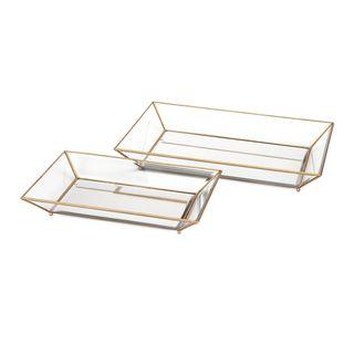 Maison Decorative Glass Trays (Set of 2)