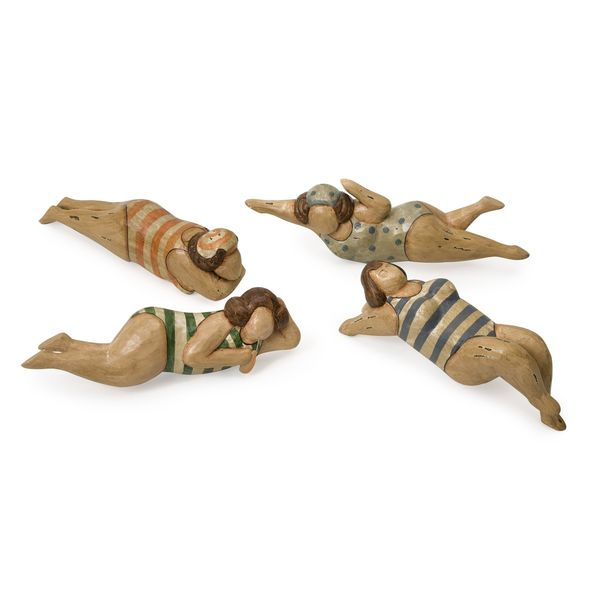 Bathing Beauties in Natural Wood - Set of 4