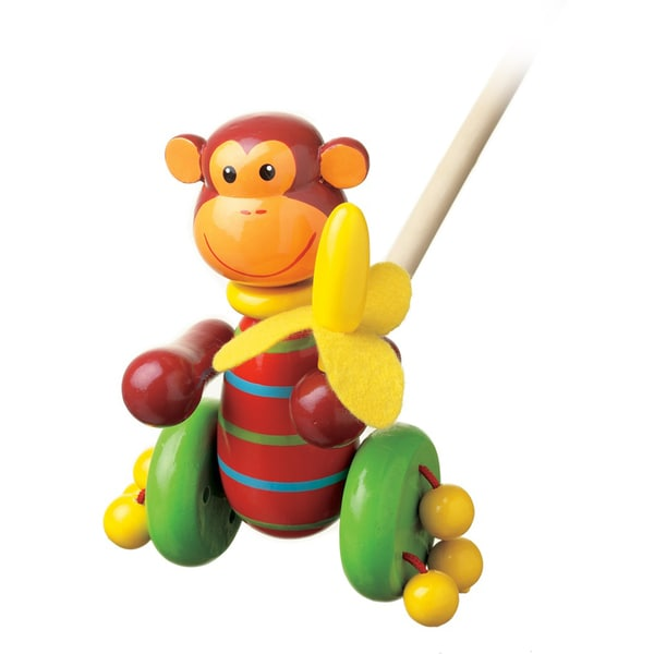 Orange Tree Toys Wooden Monkey Push-Along Toy