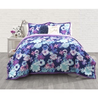 Seventeen Eden Floral Blue/ Purple 3-Piece Comforter Set