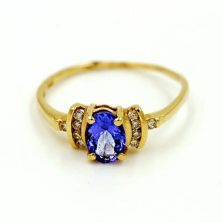 14k Yellow Gold 1/10ct TDW Diamond and Tanzanite Fashion Ring (G-H, I1)