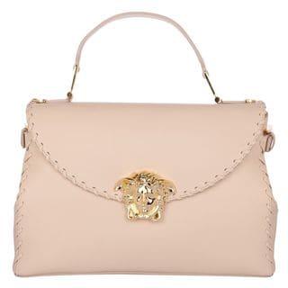 Versace Signature Medusa Lock Beige Leather Handbag