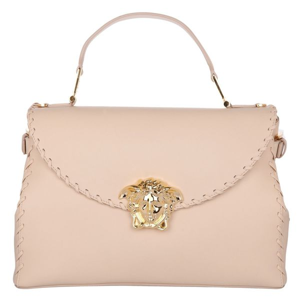 Versace Signature Medusa Lock Beige Leather Handbag