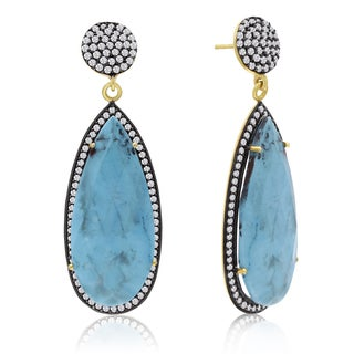 14k Yellow Gold Over Sterling Silver 48ct Pear Shape Turquoise and Cubic Zirconia Dangle Earrings