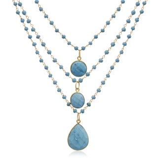 14k Yellow Gold Over Sterling Silver 86ct Turquoise Triple Strand Beaded Necklace - 26 Inches