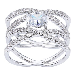 Simon Frank Rhodium Overlay Cubic Zirconia Bridal Fashion Ring