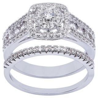 Simon Frank Silvertone 2-Piece Bridal Inspired Ring