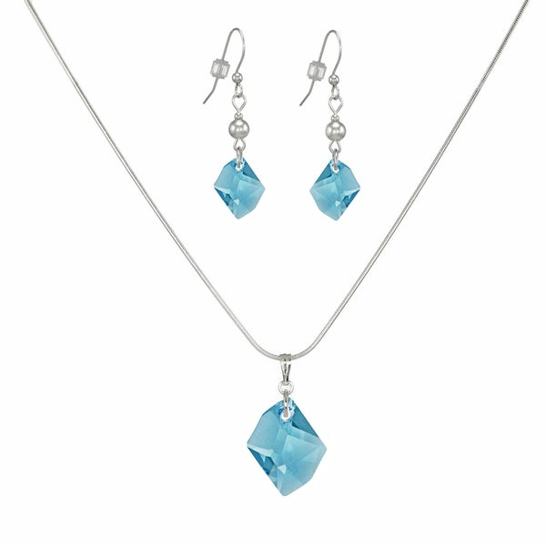 Jewelry by Dawn Aquamarine Cosmic Swarovski Crystal Sterling Silver Necklace and Earring Set