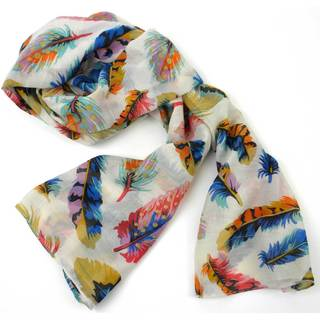 Handmade Cream Feather Print Polyester Scarf (India)