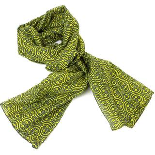 Handmade Olive and Lemon Floral Cotton Scarf (India)