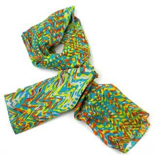 Handmade Bright Abstract Cotton Scarf (India)