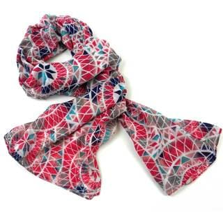Handmade Pink Circles Polyester Scarf (India)