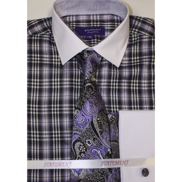Purple shirt, tie and hankie set