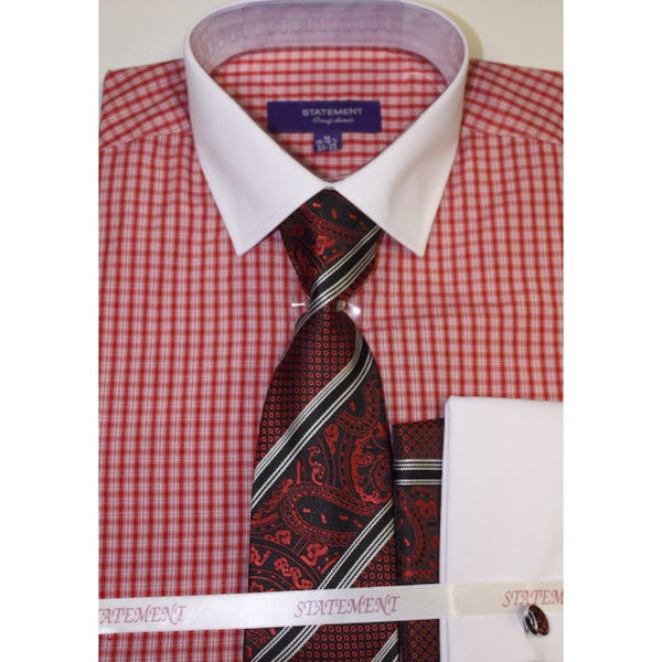 Men's Red Cotton Shirt, Tie and Hankie Set