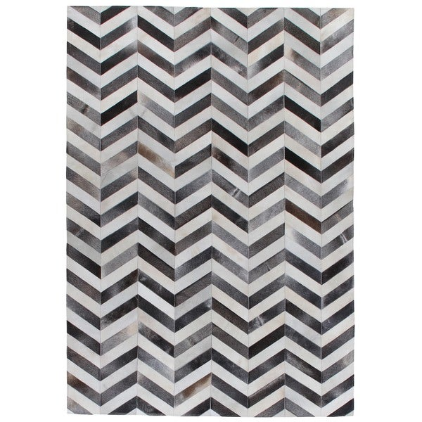 Chevron Hide Grey / White Leather Hair-on-hide Rug (11'6 x 14'6)