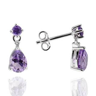 Sterling Silver 7x5mm Pear-Cut Amethyst and Diamond Accent Earrings (China)