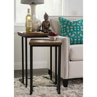 Kosas Home Lynda Mahogany Brown/Black Mango Wood and Iron Nesting Tables