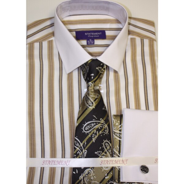 Men's Tan Shirt, Tie and Hankie Set