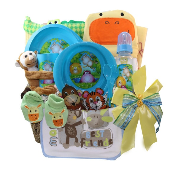 Jungle Buddies Neutral Boy or Girl Baby Gift Basket 18340299