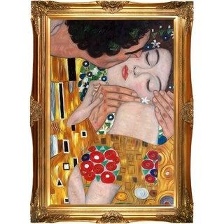 Gustav Klimt 'The Kiss' (close-up) Hand Painted Framed Canvas Art
