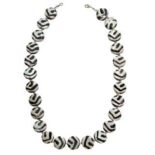 Handmade Zebra Pattern Necklace with Ceramic Beads (Kenya)