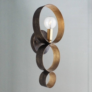 Crystorama Luna Collection 1-light English Bronze/Antique Gold Wall Sconce