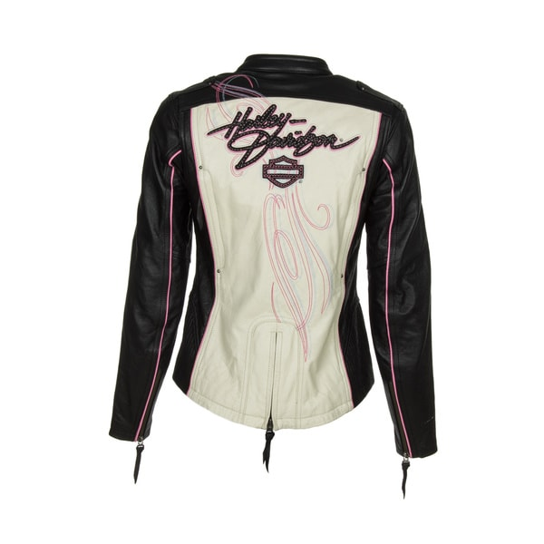 Harley-Davidson 97010-14VW Womens Pink Label Colorblock Leather Jacket