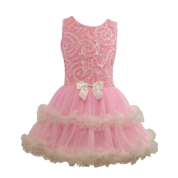 Popatu Pink Lace Ruffle Petti Dress