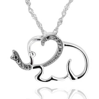Sterling Silver Diamond Accent Elephant Pendant Necklace with 18-inch Chain (China)