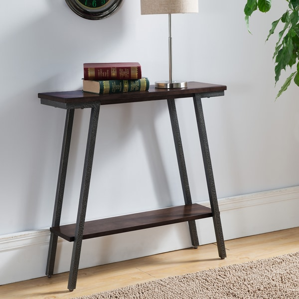 Contemporary Hall Table with Lower Storage Shelf with Brown Walnut Finish and Bronzed Legs