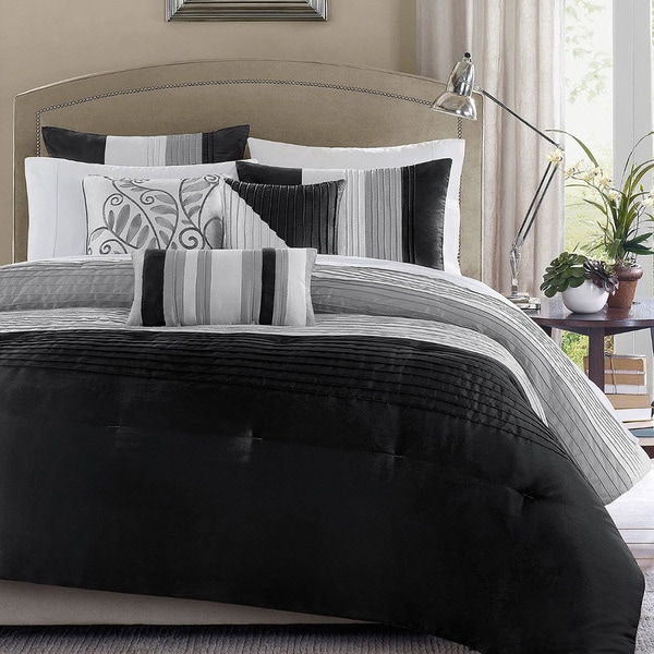Madison Park Infinity Black/Grey 6-piece Full/ Queen Size Duvet Cover Set (As Is Item)