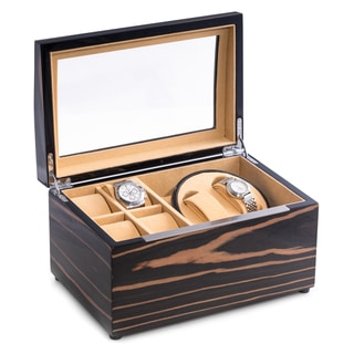 Leo Lacquered Ebony Finished Burl Wood Watch Winder And Storage Case Watch Box