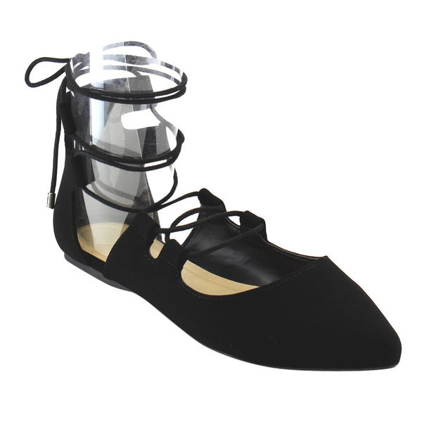 Beston Lace Up Ballerina Flats