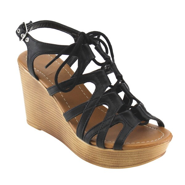 Beston Lace Up Wedge Sandals