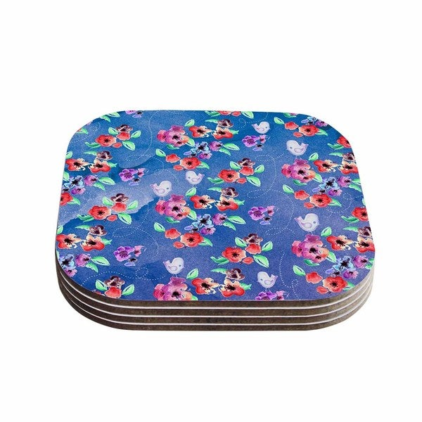 Zara Martina Mansen 'Signs Of Spring' Blue Red Coasters (Set of 4)
