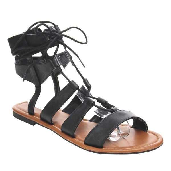 Beston Lace-up Gladiator Flat Sandals