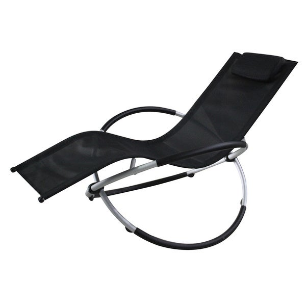 Vanilla Orbit Black Outdoor Rocking Lounge Chair