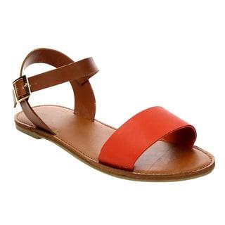 BONNIBEL BC39 Women's Ankle Strap Comfort Slip Flat Sandals