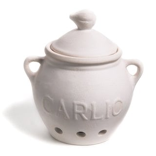 Fox Run Brands White Stoneware Garlic Keeper with Lid