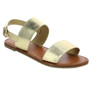 BONNIBEL BC40 Women's Adjustable Slingback Strap Flat Sandals